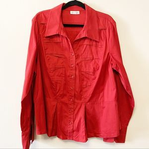 COLDWATER CREEK - Red ZigZag Pleated Blouse - 2X